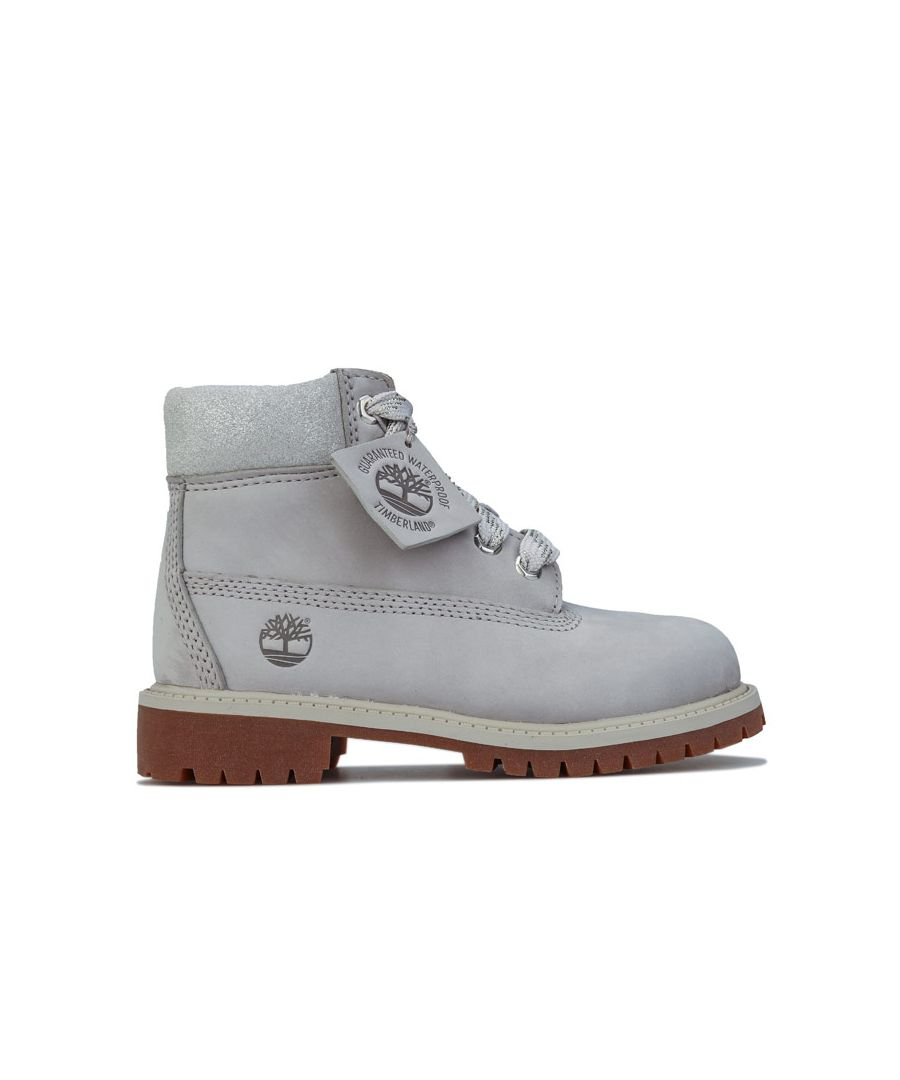 Image for Boy's Timberland Childrens 6 Inch Premium Waterproof Boots in Light Grey