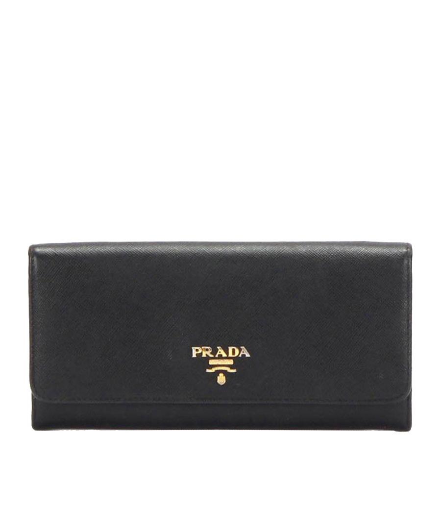 Image for Vintage Prada Saffiano Leather Long Wallet Black