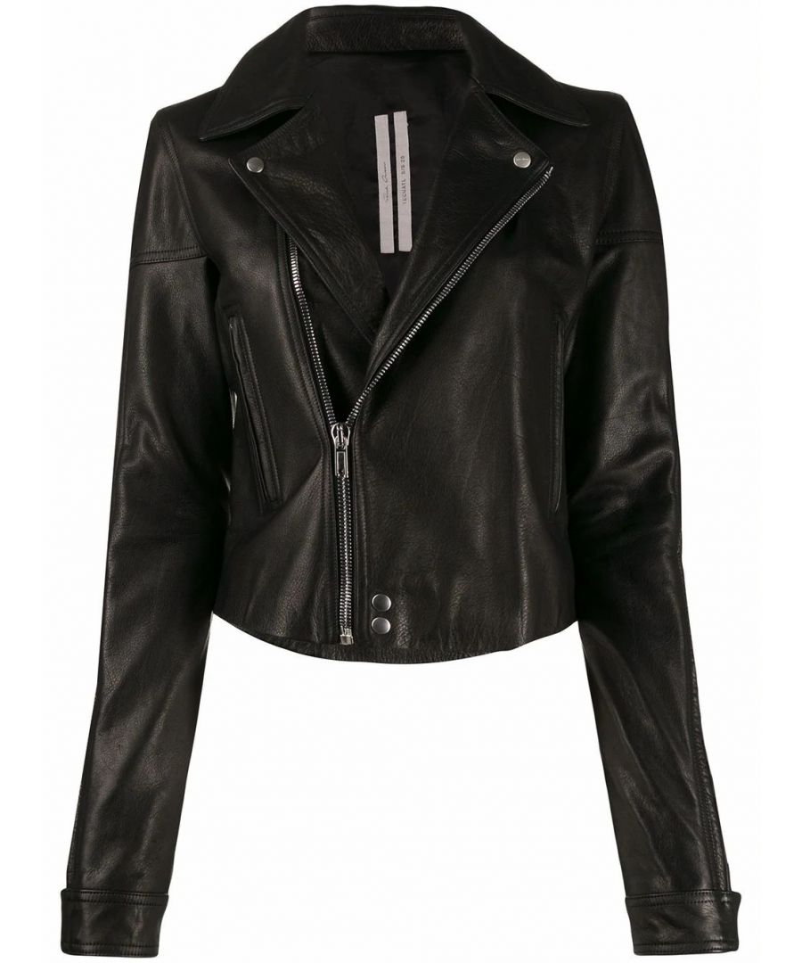 Image for RICK OWENS WOMEN'S RP20S1716LCW09 BLACK LEATHER OUTERWEAR JACKET