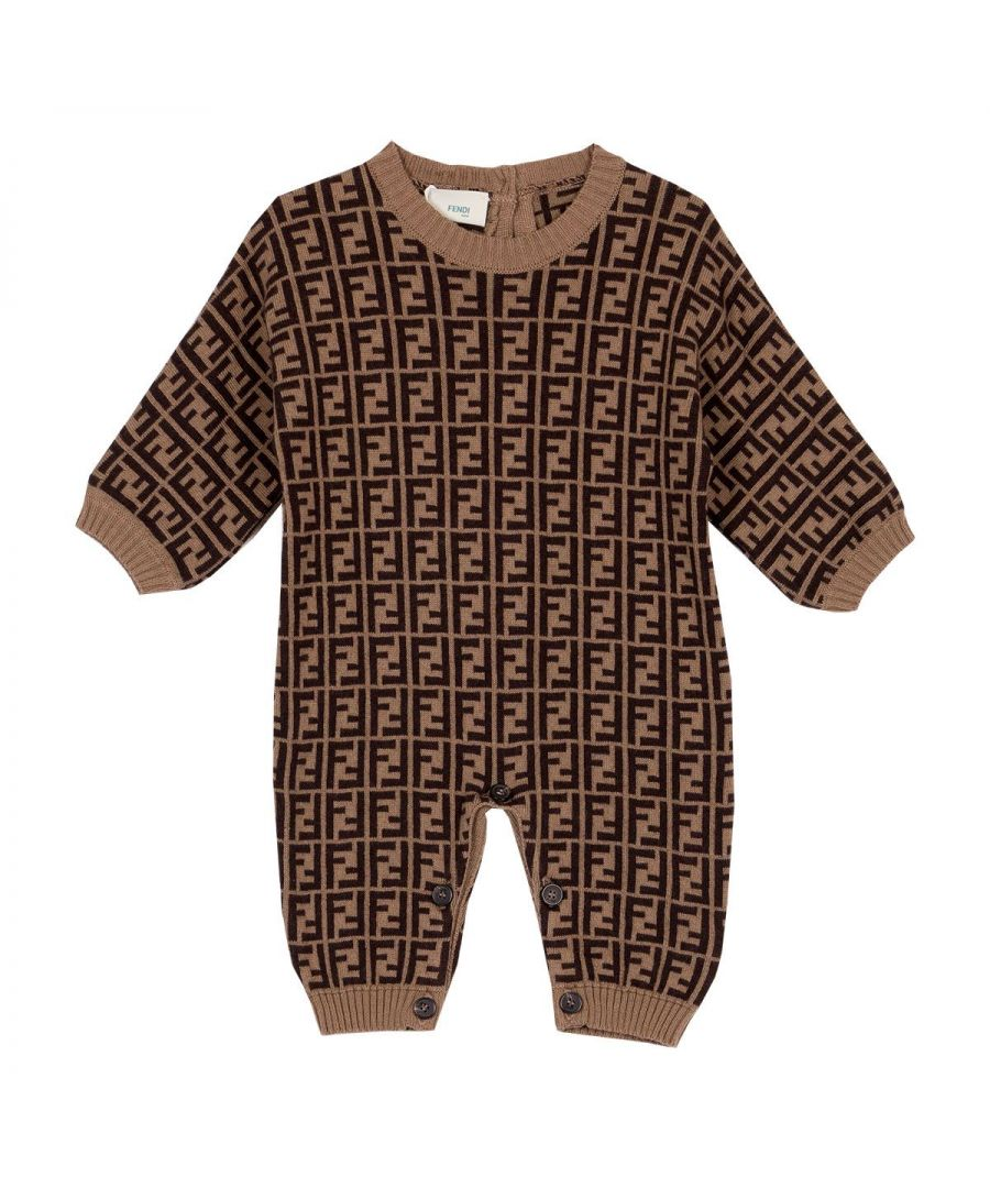 Image for FENDI BABY GIRLS BUL027A3TEF0LMJ BROWN COTTON JUMPSUIT