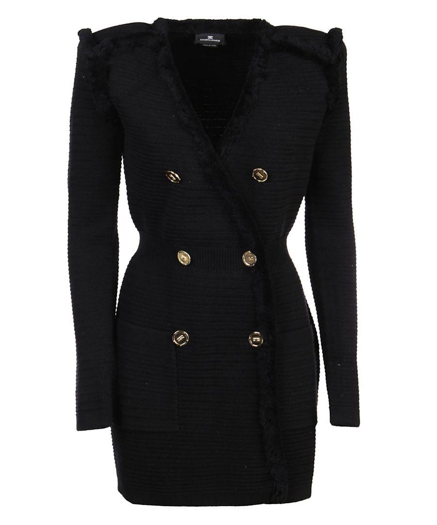 Image for ELISABETTA FRANCHI WOMEN'S AM76S01E2110 BLACK COTTON DRESS