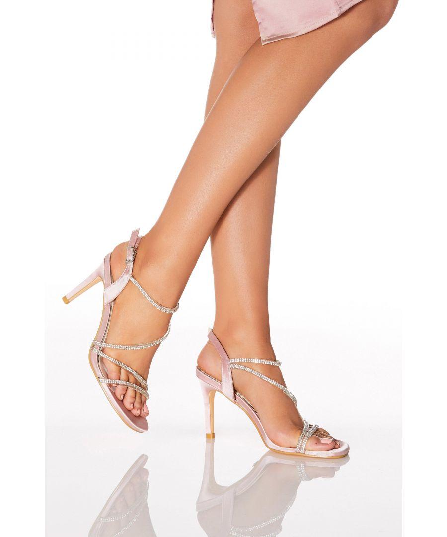 Image for Pink Satin Diamante Strap Heel