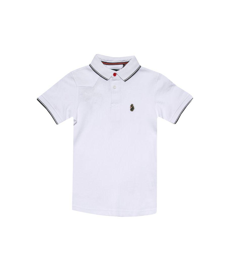 Image for Boys' Luke 1977 Junior Tip Off Polo Shirt in White Black