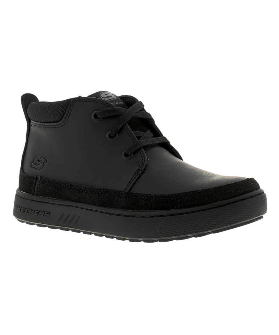 Image for Boys Skechers Lace Up Sporty High-Top Style Ankle Boot With Smooth Lea