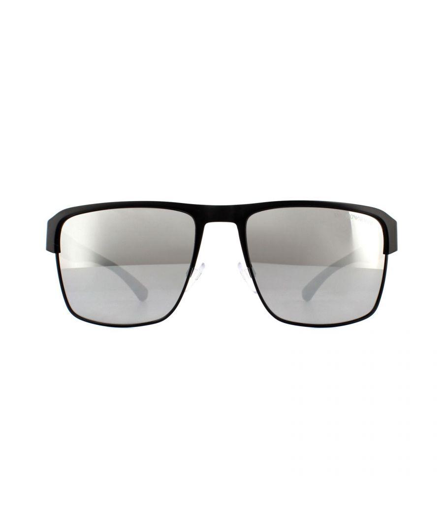 Image for Emporio Armani Sunglasses EA2066 3001Z3 Matte Black Grey Mirror Silver Polarized
