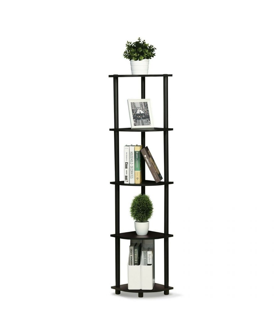 Image for Furinno Turn-N-Tube 5 Tier Corner Display Rack Multipurpose Shelving Unit,Walnut