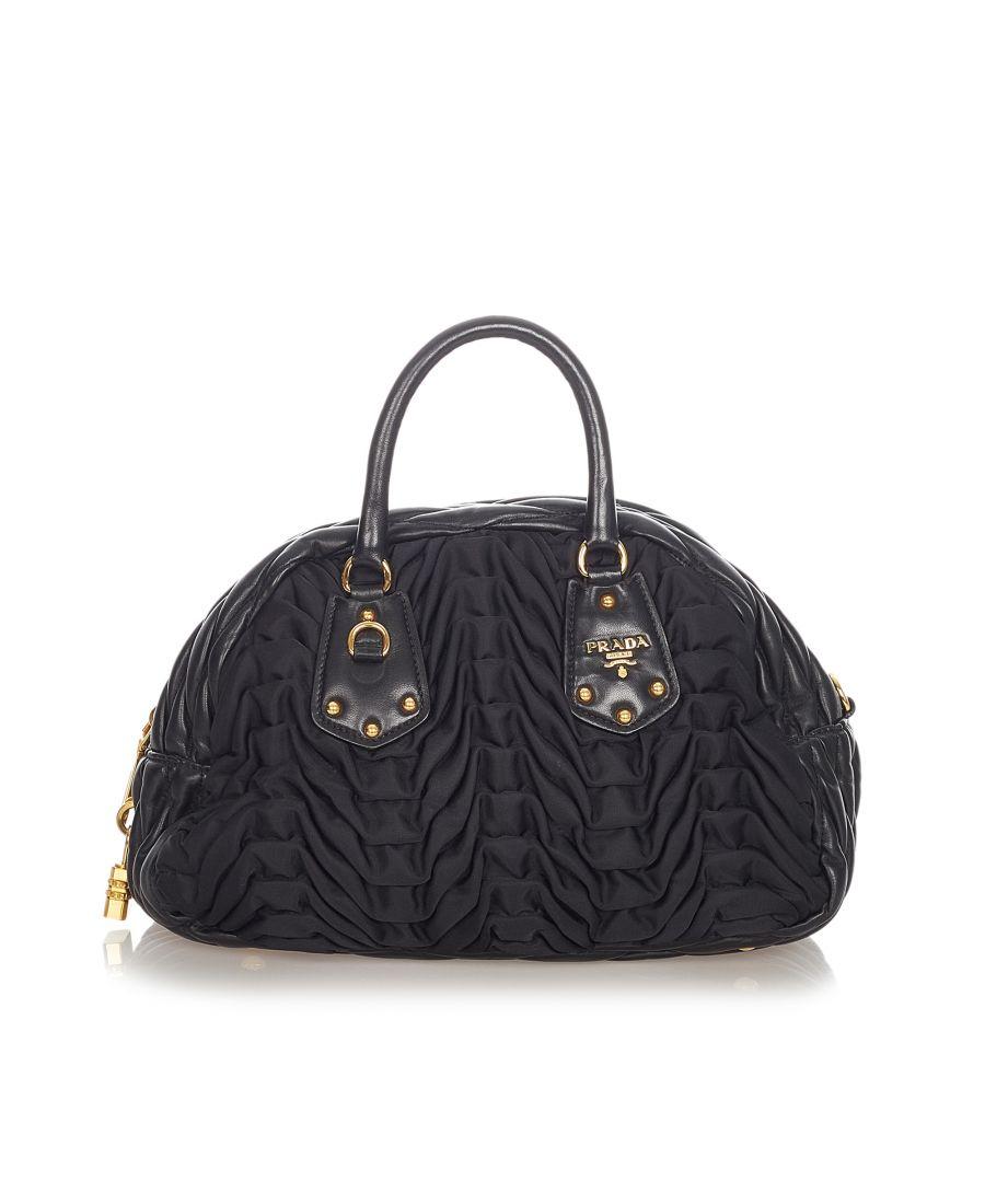 Image for Vintage Prada Quilted Tessuto Handbag Black