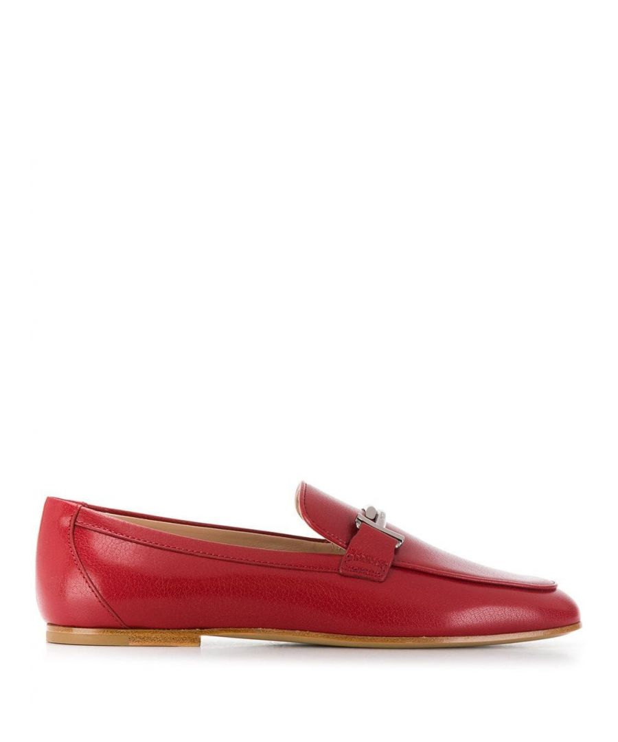 Image for TOD'S WOMEN'S XXW79A0Z370TRPR609 RED LEATHER LOAFERS