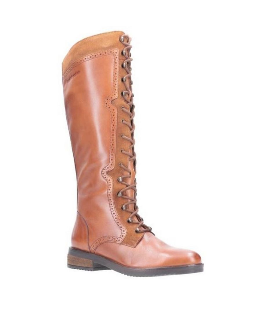 Image for Hush Puppies Women's Rudy Lace Up Long Leather Boot (Tan)