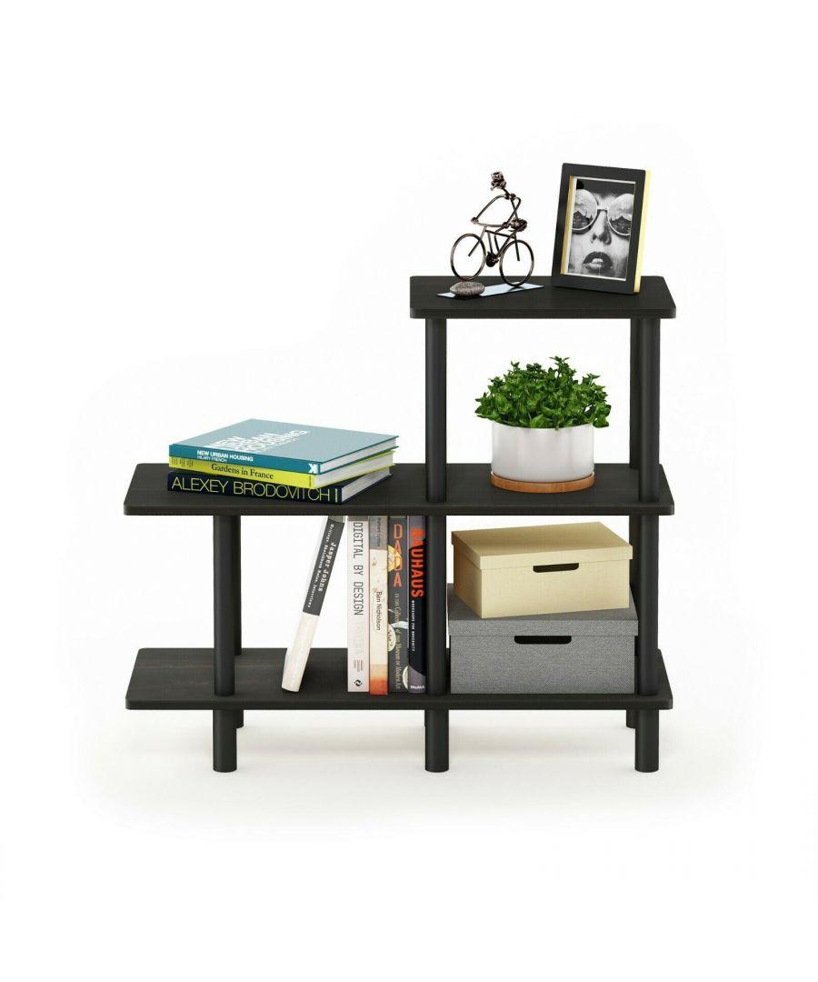 Image for Furinno Turn-N-Tube 3-Tier Cube Ladder Shelf, Espresso/Black
