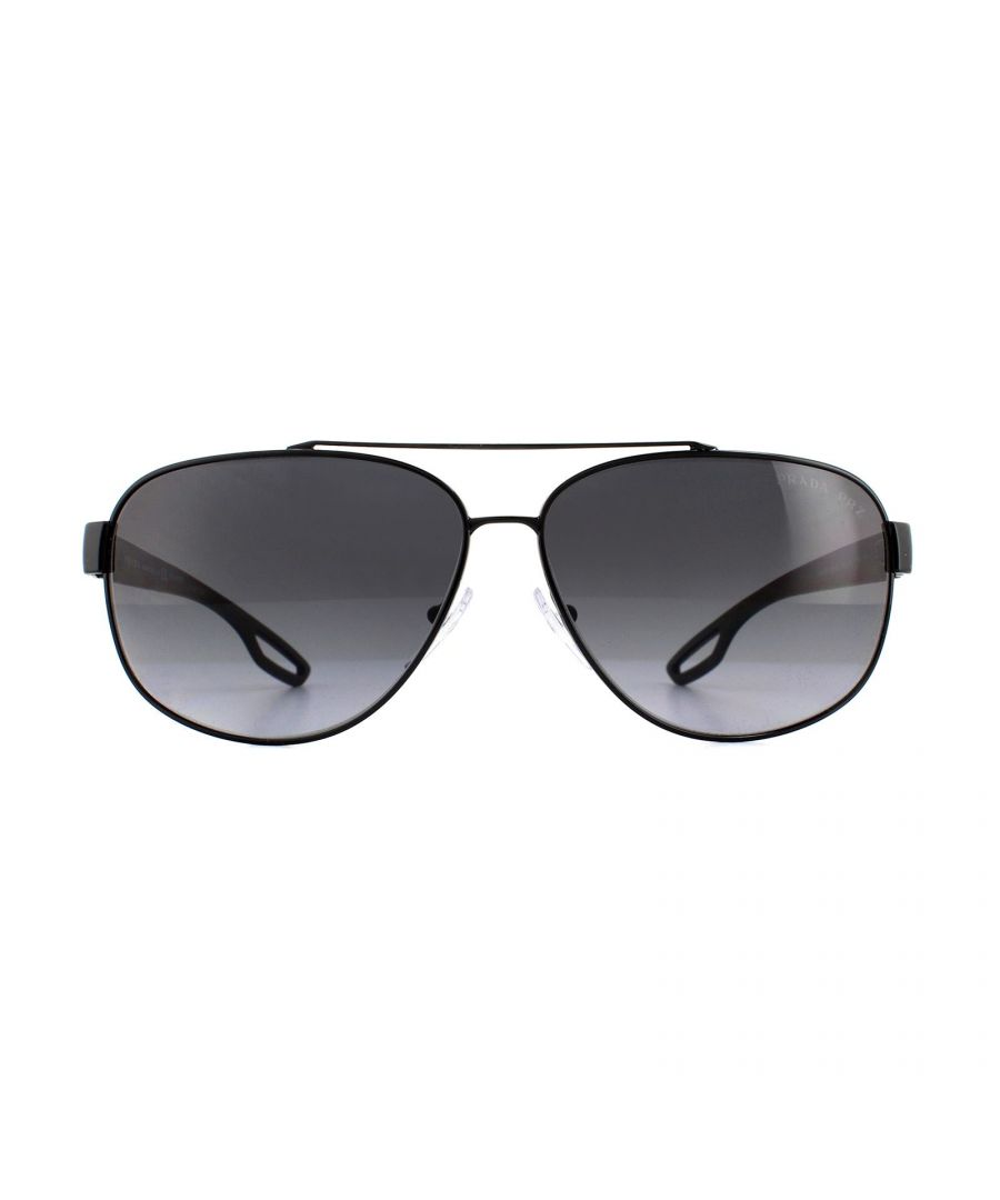 Image for Prada Sport Sunglasses 58QS 1AB5W1 Black Grey Gradient Polarized