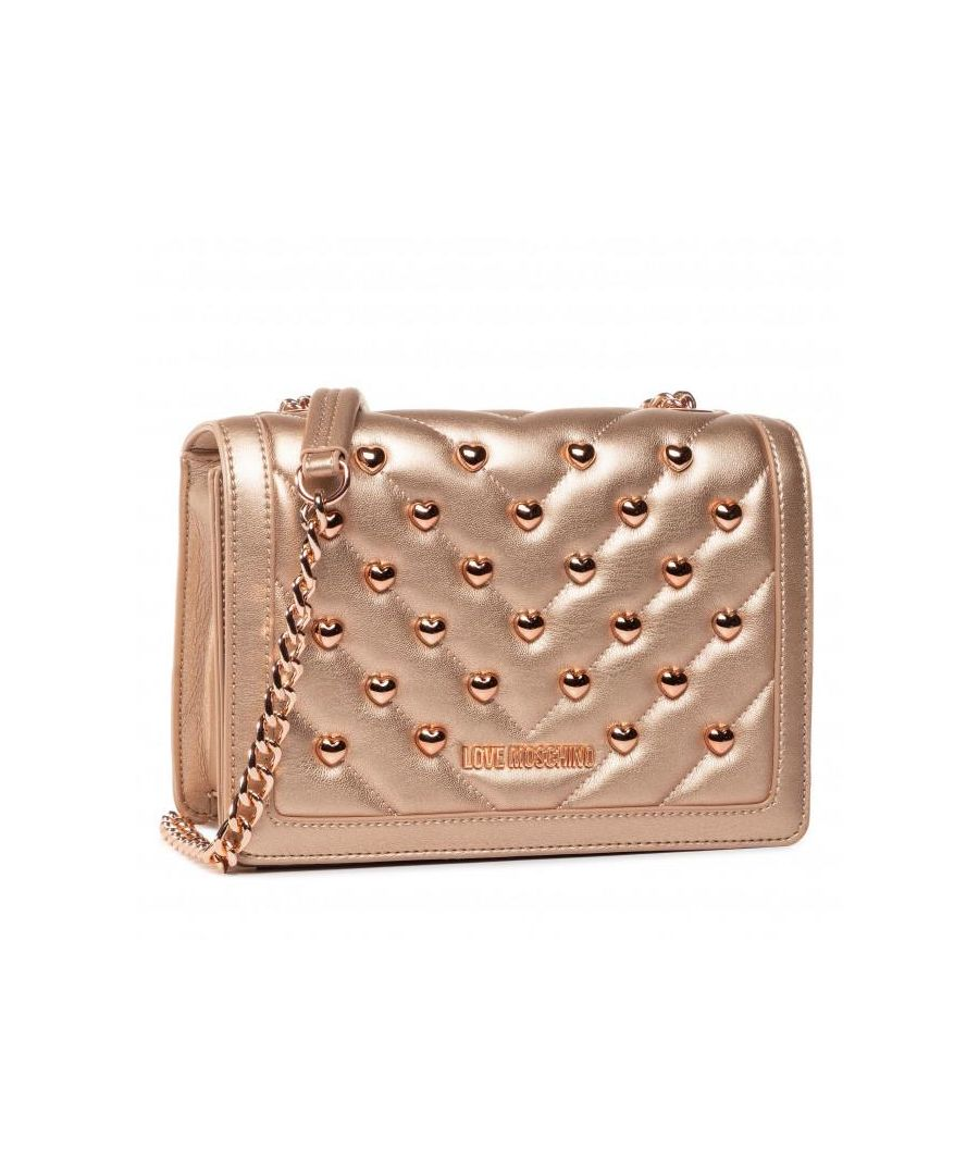Image for Love Moschino Studded Gold Chain Crossbody Bag in Gold