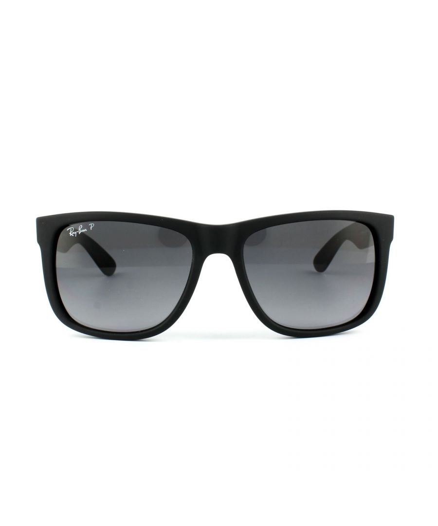 Image for Ray-Ban Sunglasses Justin 4165 622/T3 Black Rubber Grey Gradient Polarized