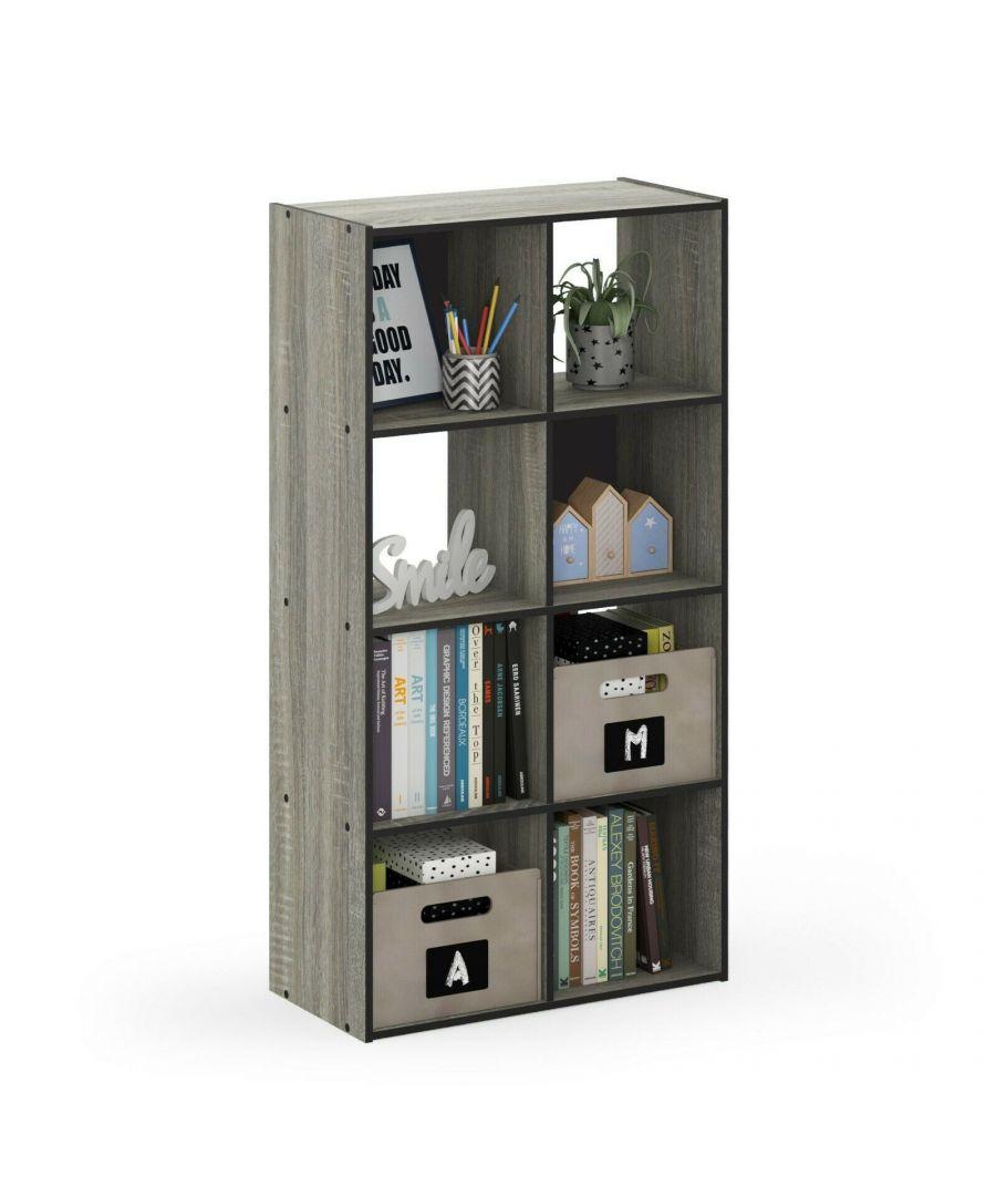 Image for Furinno Pelli Cubic Storage Cabinet, 4x2, French Oak Grey/Black