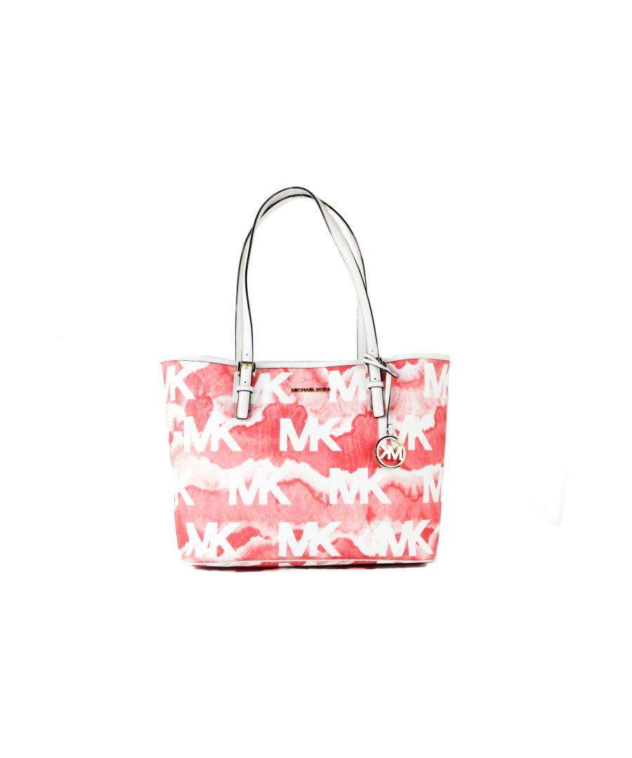 Image for Michael Kors Jet Set Travel Medium Cloudy MK Logo PVC Carryall Shoulder Tote Handbag