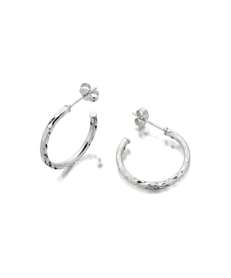 Image for F.Hinds Womens Sterling Silver Diamond Cut Twist Half Hoop Earrings 20mm