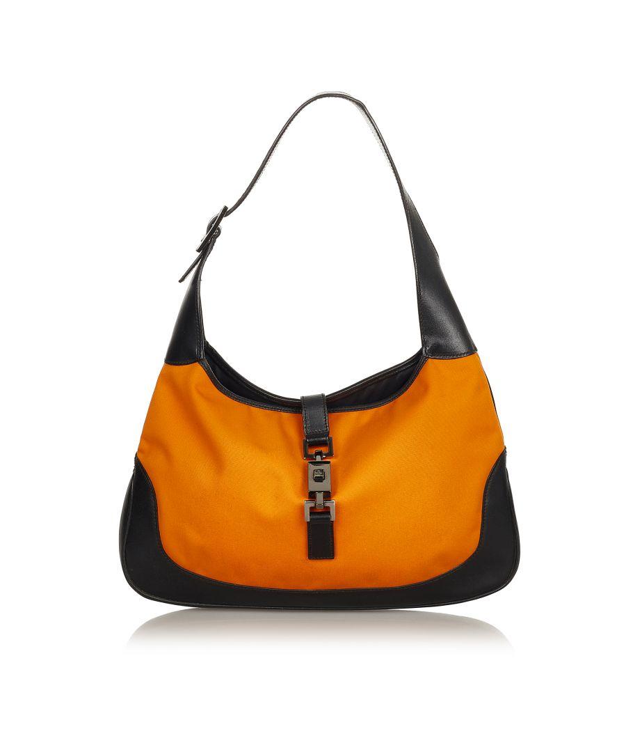 Image for Vintage Gucci Jackie Nylon Shoulder Bag Orange