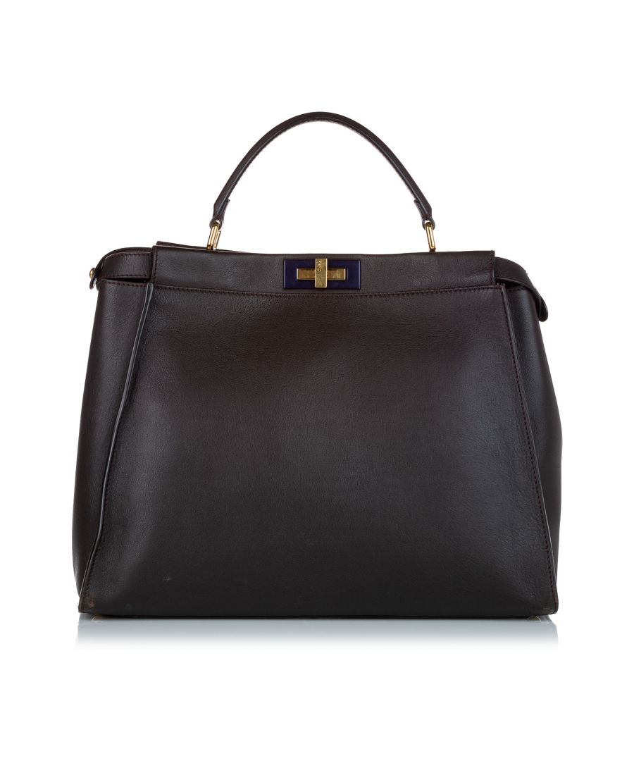 Image for Vintage Fendi Peekaboo Leather Satchel Brown