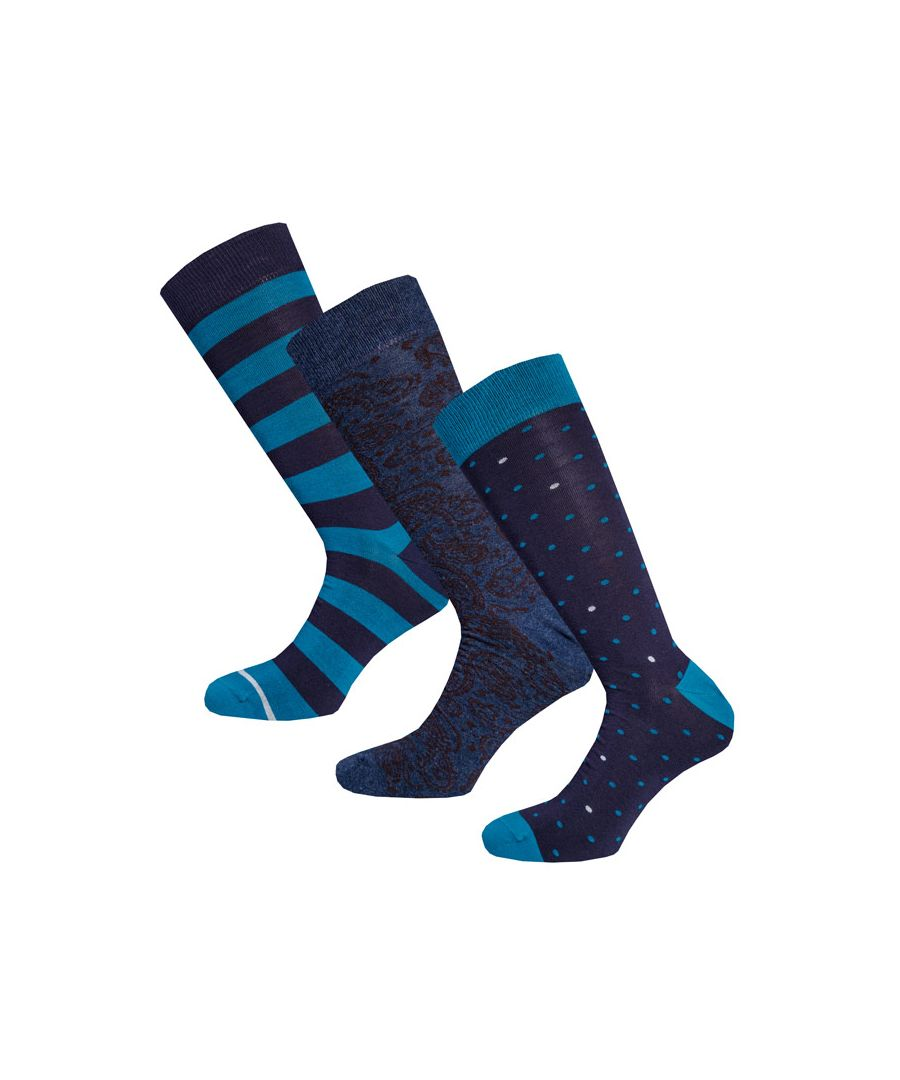 Image for Men's Pretty Green 3 Pack Tonal Paisley Sock Set in Black
