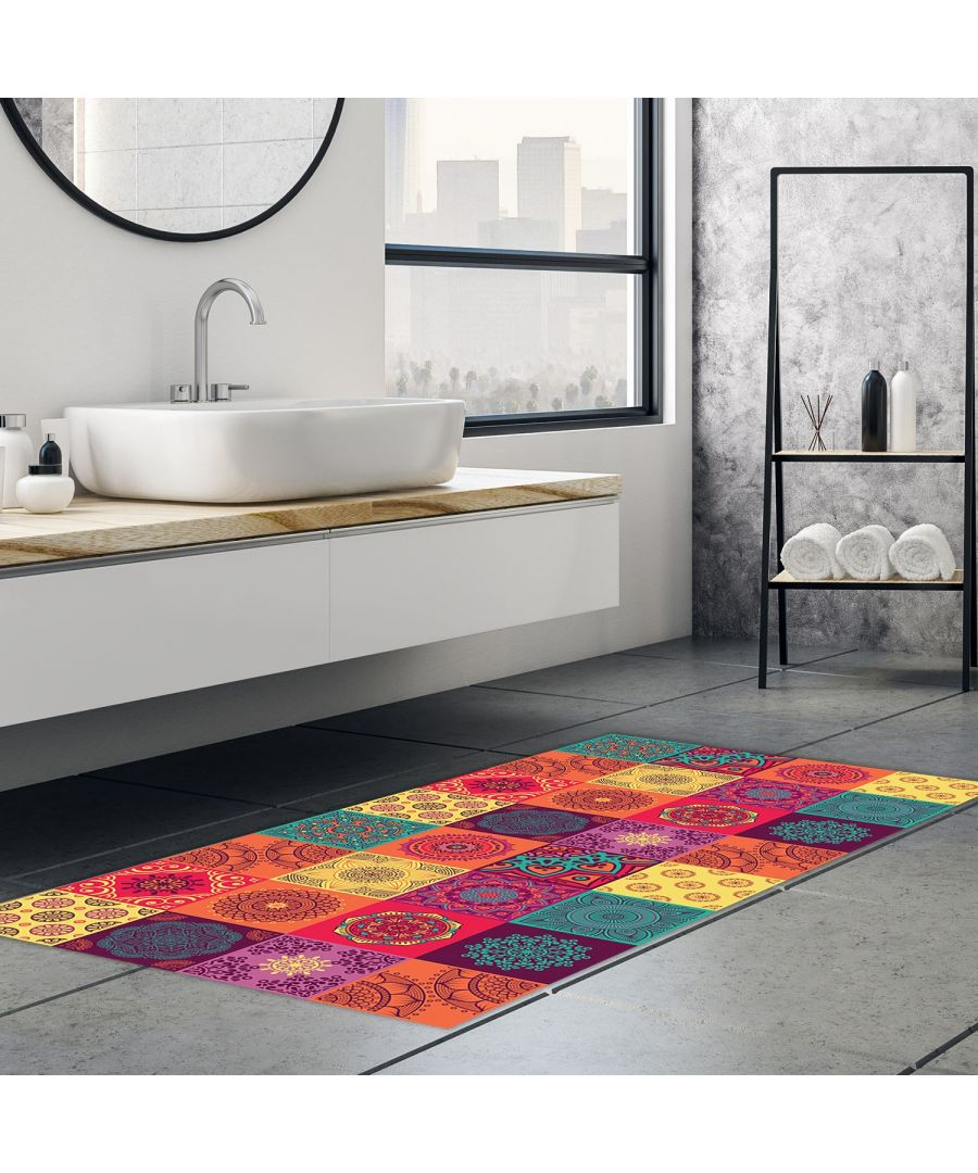 Image for WFM6109 - Colourful Mandala Tiles Rug Mat 120cm x 60 cm