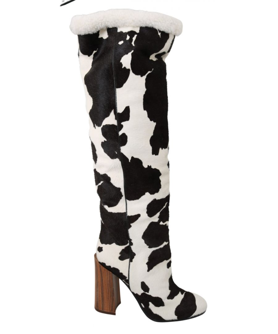 Image for Dolce & Gabbana Brown White Pony Hair Shearling Boots Shoes