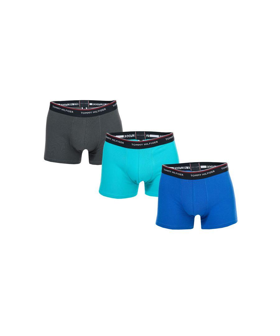 Image for Men's Tommy Hilfiger 3 Pack Stretch Cotton Trunks Teal Lin Teal