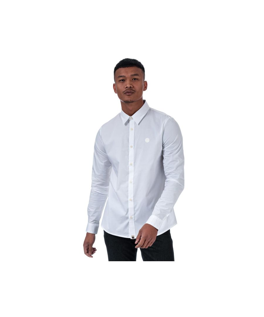 Image for Men's Pretty Green Pheonix Stretch Long Sleeve Shirt in White
