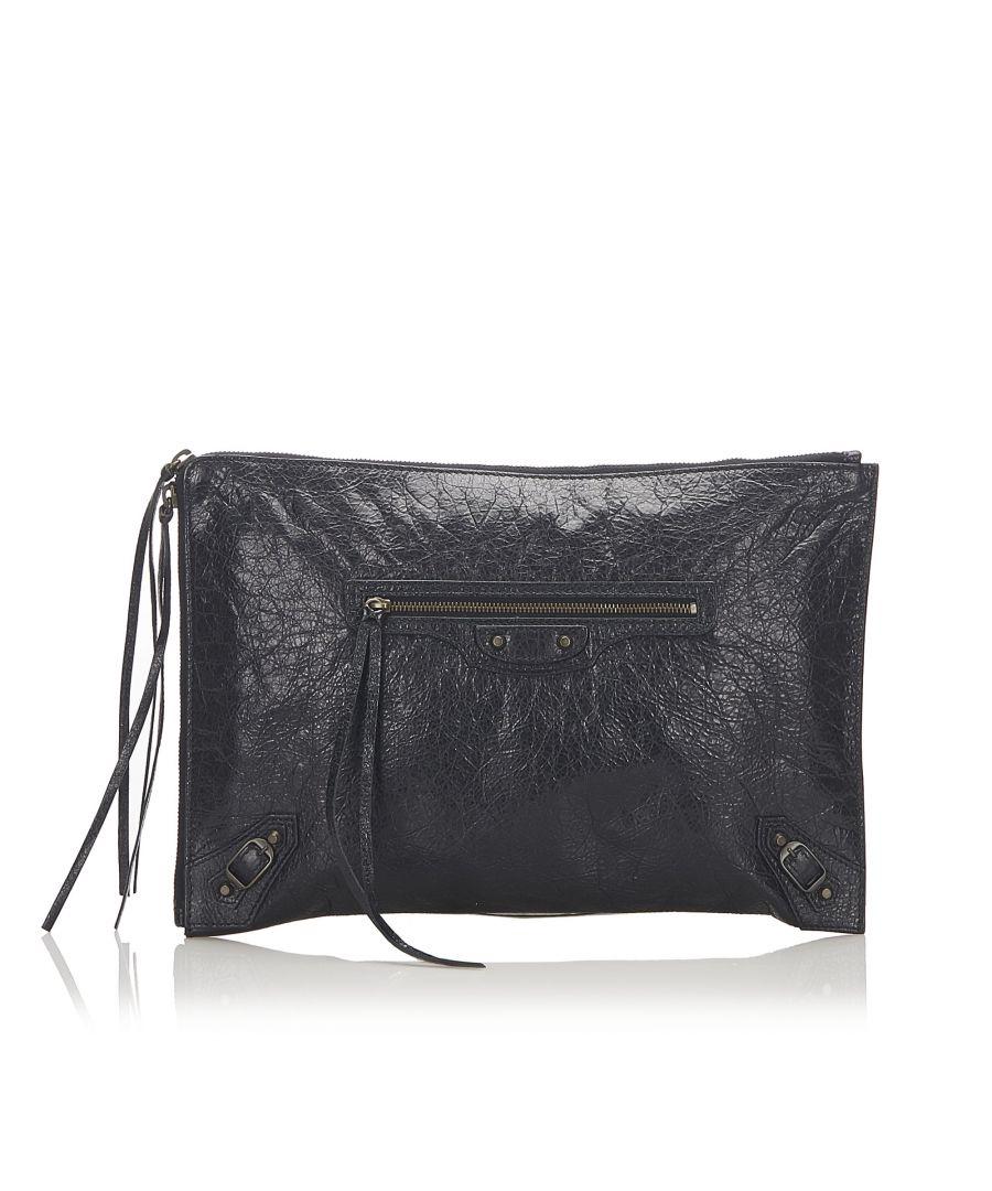 Image for Vintage Balenciaga Motocross Clutch Bag Black
