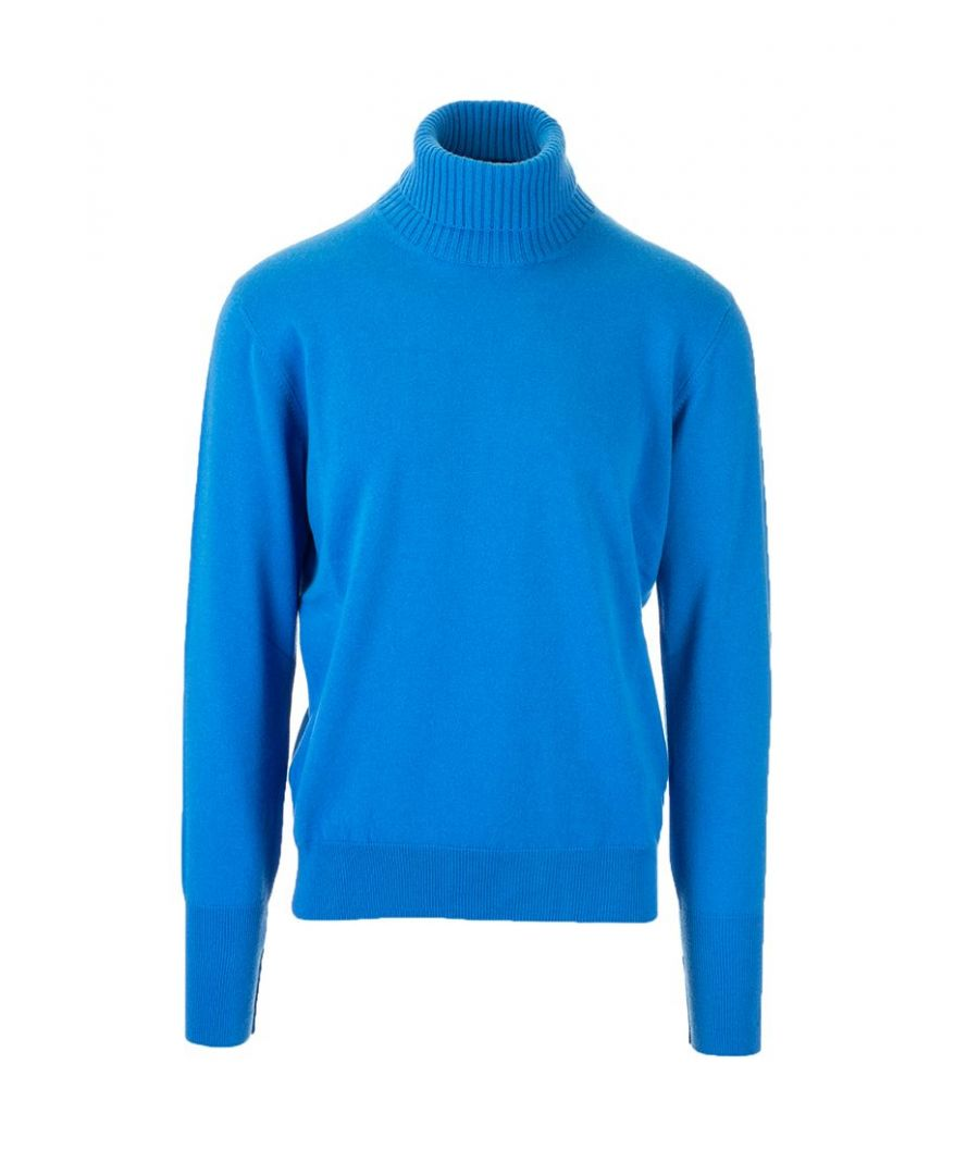 Image for BALLANTYNE MEN'S P2P01012K0013429 BLUE CASHMERE SWEATER