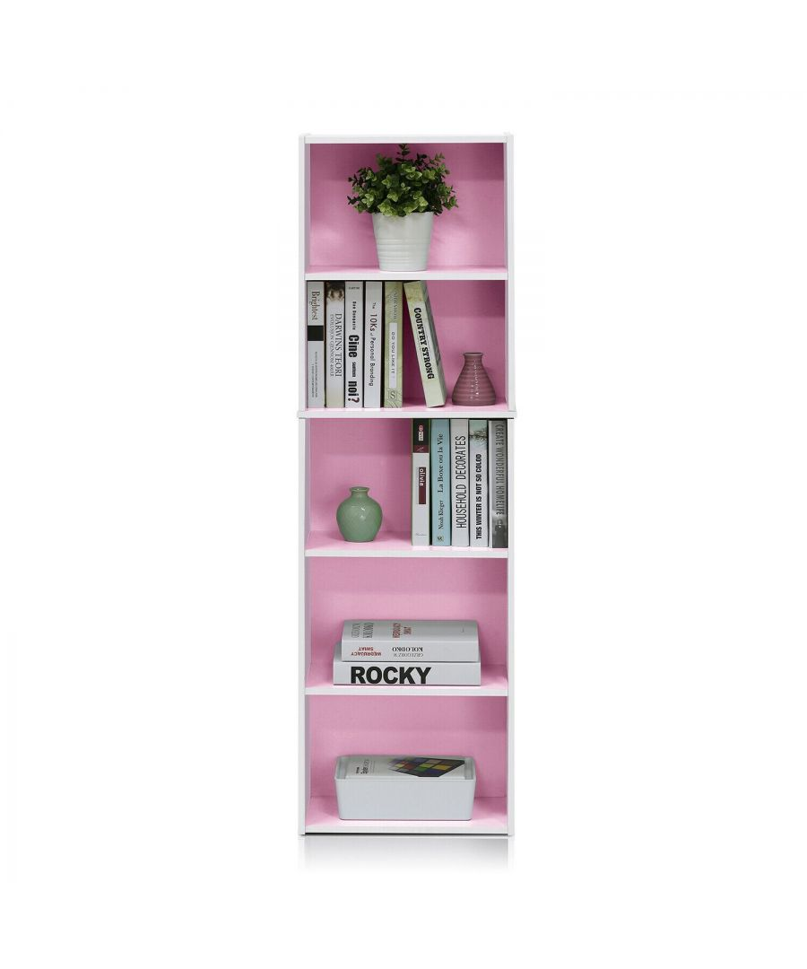 Image for Furinno 5-Tier Reversible Color Open Shelf Bookcase - White & Pink