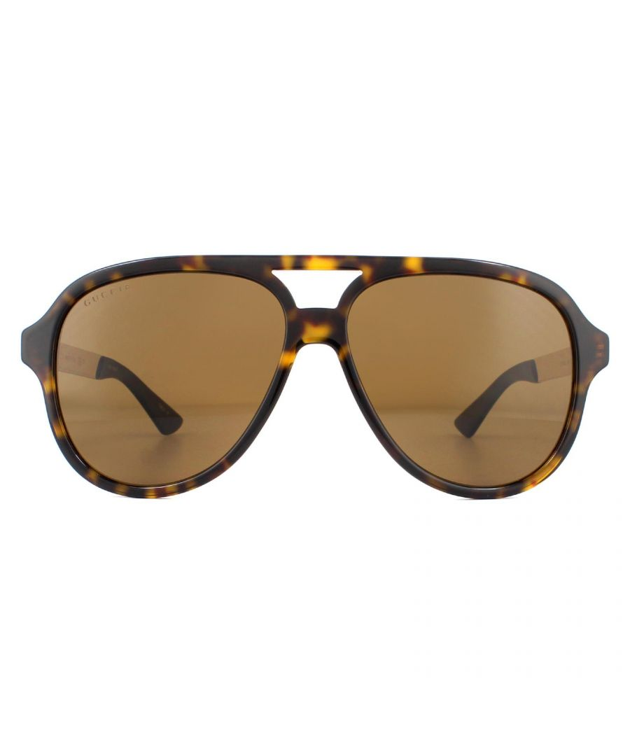 Image for Gucci Sunglasses GG0688S 002 Havana and Gold Brown Polarized