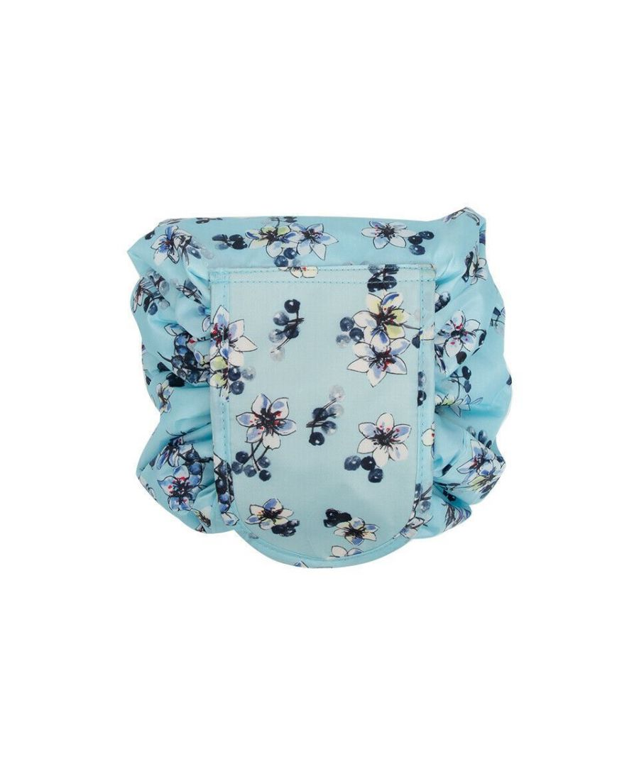 Image for Envie Travel Cosmetic Drawstring Polyester Bag Pouch Flowers Turquoise