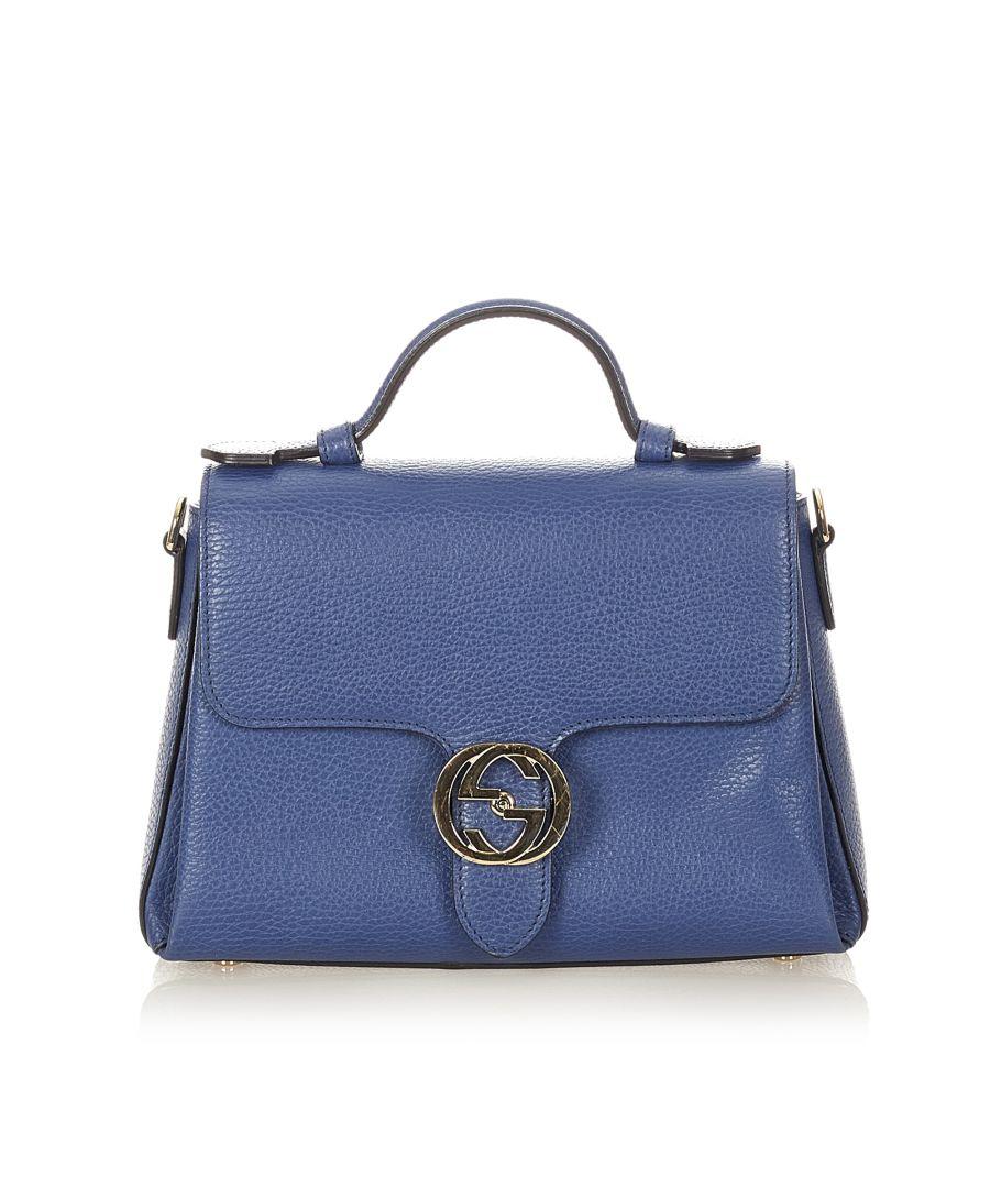 Image for Vintage Gucci Interlocking G Satchel Blue