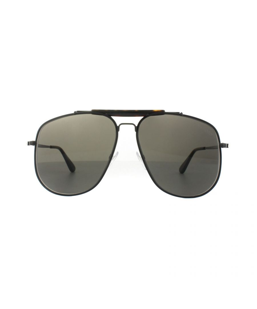 Image for Tom Ford Sunglasses 0557 Connor 02 01A Shiny Black Grey Smoke