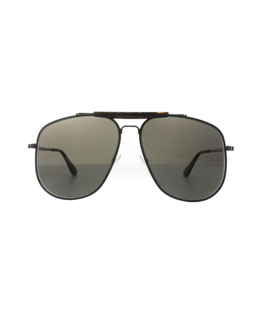 Image for Tom Ford Sunglasses 0557 Connor 02 01A Shiny Black Grey Smoke