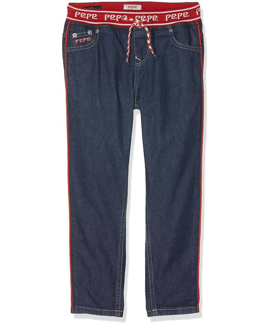 Image for Pepe Jeans Girls Straight Denim Jeans with Elasticated Waist in Blue