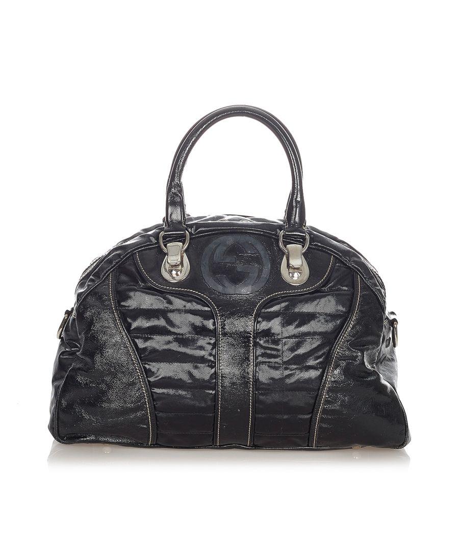 Image for Vintage Gucci Snow Glam Leather Handbag Black
