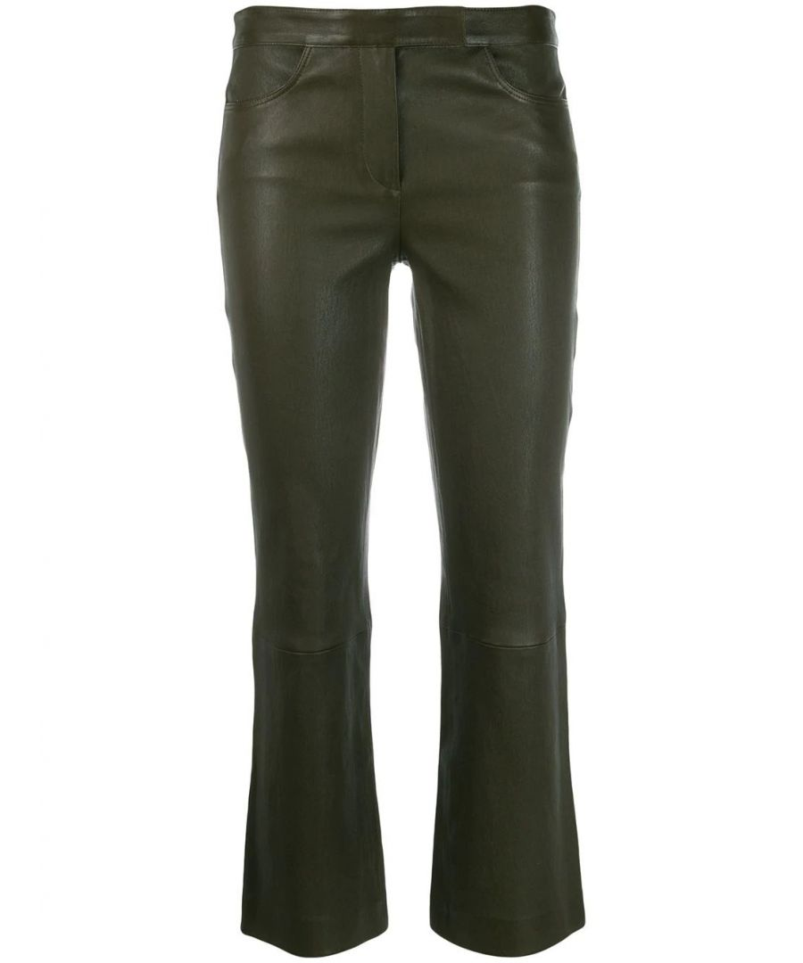Image for THEORY WOMEN'S J0700206WUU GREEN LEATHER PANTS