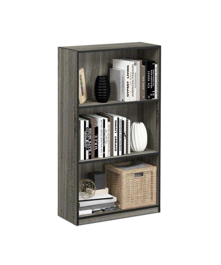 Image for Furinno Basic 3-Tier Bookcase Storage Shelves - French Oak Grey/Black