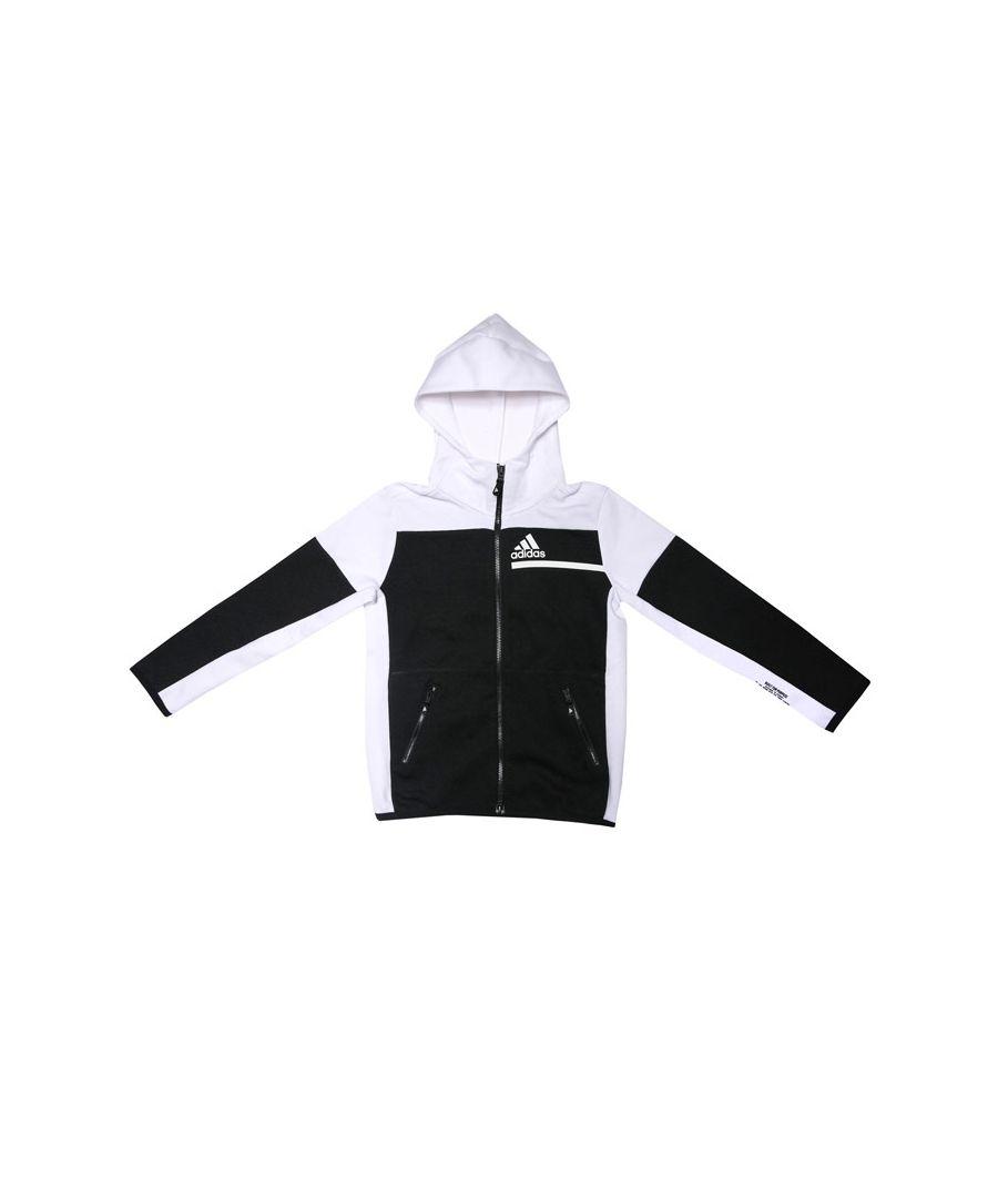 Image for Boy's adidas Junior Z.N.E. Full Zip Hoodie in Black-White