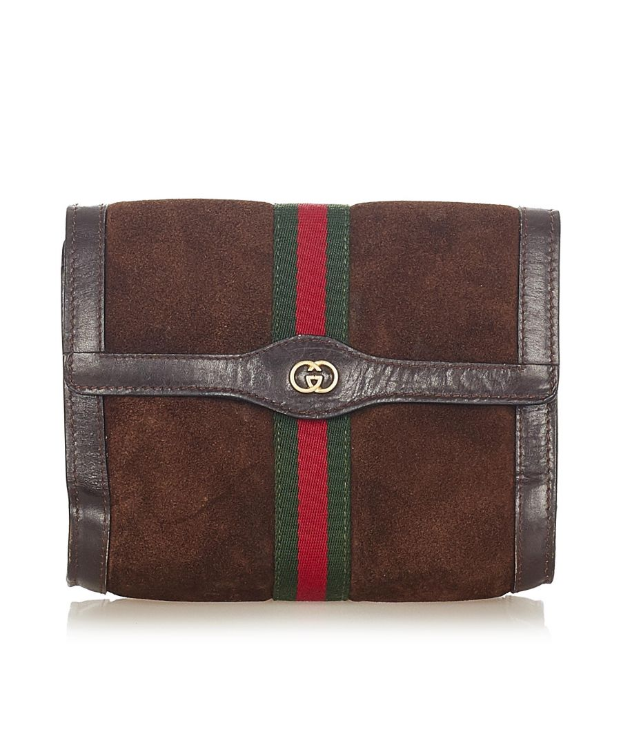 Image for Vintage Gucci Ophidia Suede Clutch Bag Brown