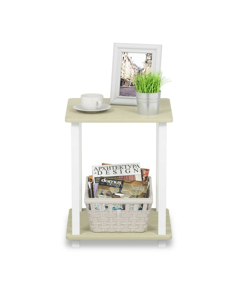 Image for Furinno Simplistic End Table, Set of Two - Cream Faux Marble/White