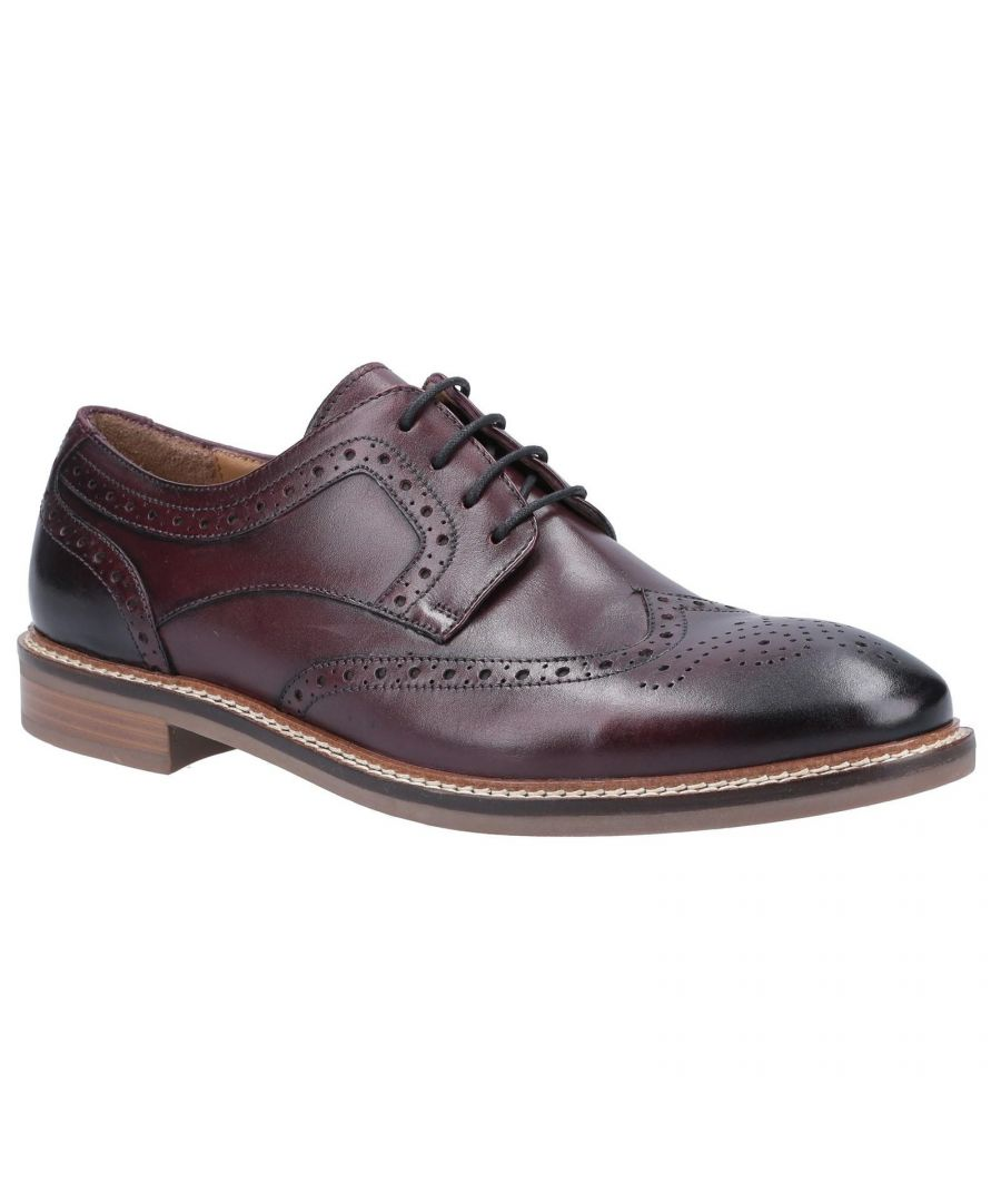 Image for Hush Puppies Mens Bryson Leather Brogues (Bordeaux Red)