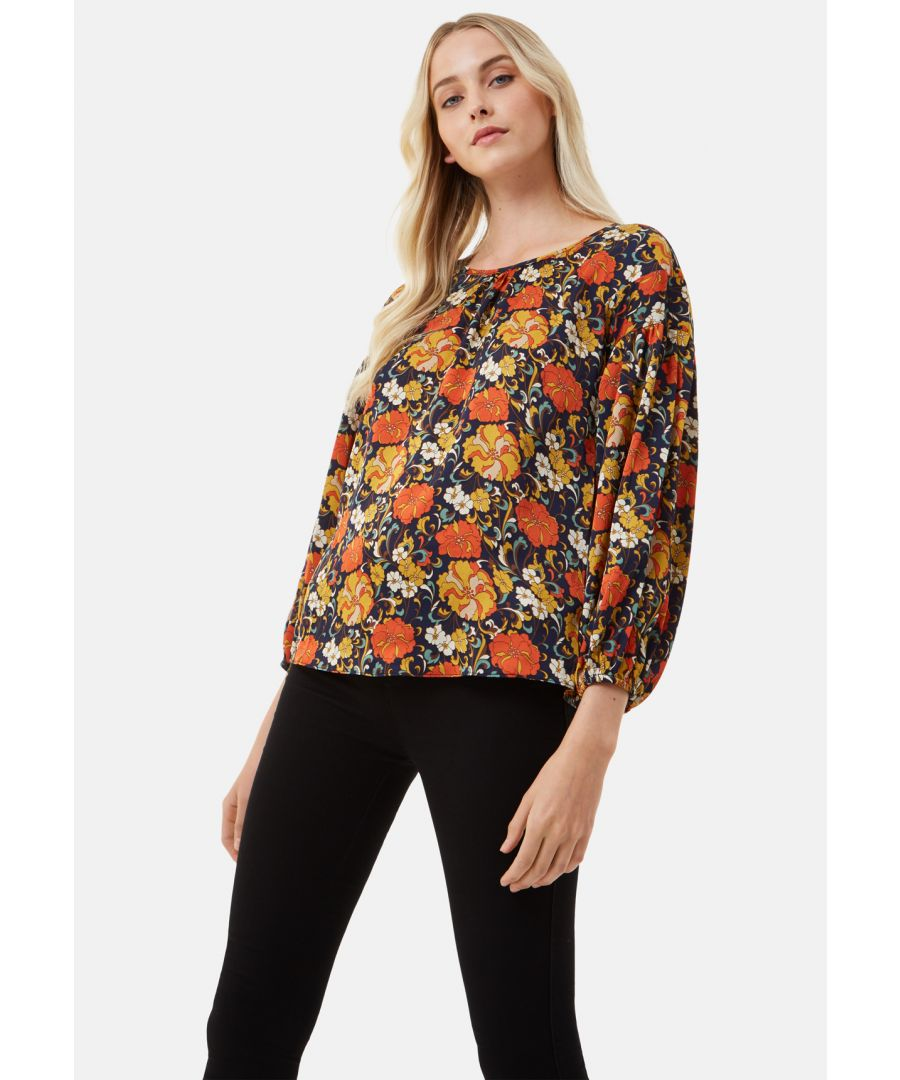 Image for Seasons Round Neck Floral Top in Navy