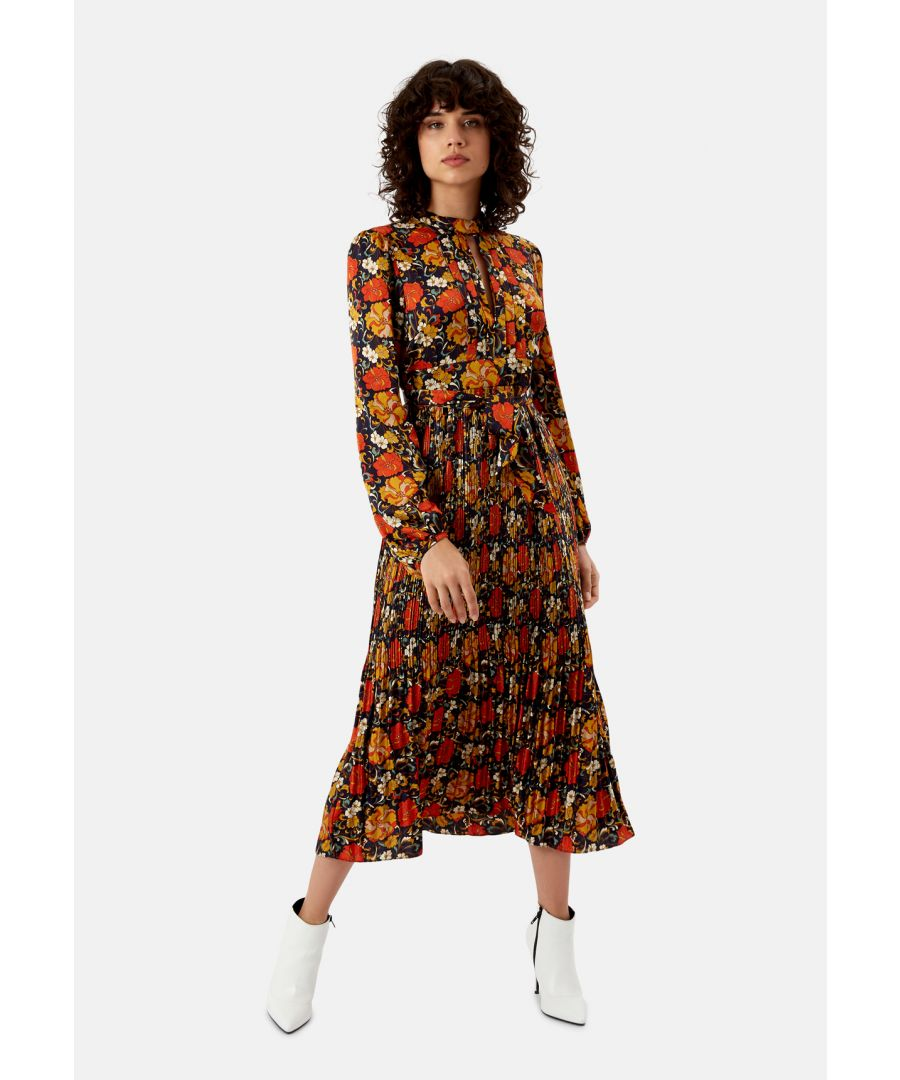 Image for Peephole Floral Long Sleeve Maxi Dress in Navy