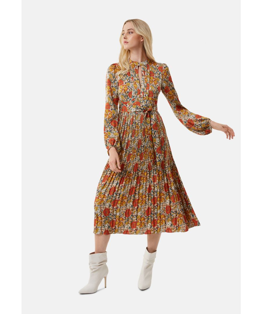 Image for Peephole Pleated Floral Dress in Beige