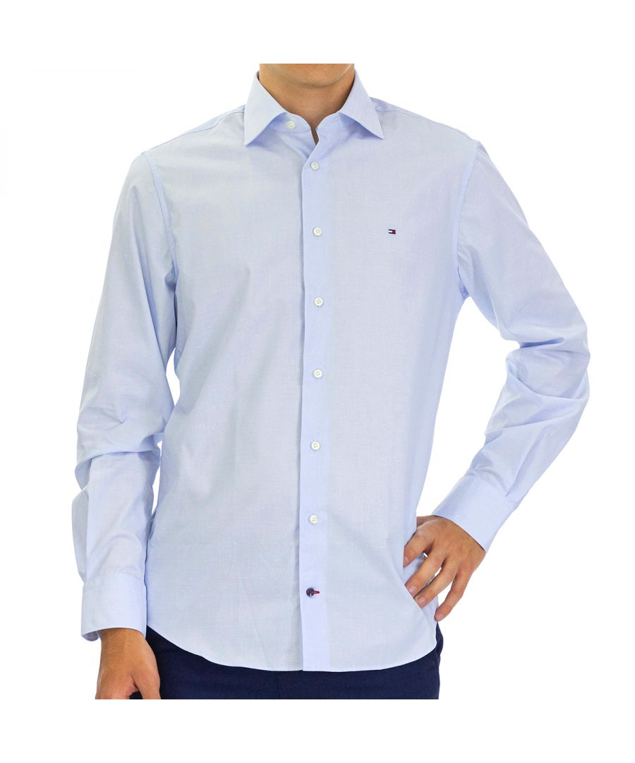 Image for Tommy Hilfiger Men's Shirt Dobby Regular Fit Full Sleeve Blue