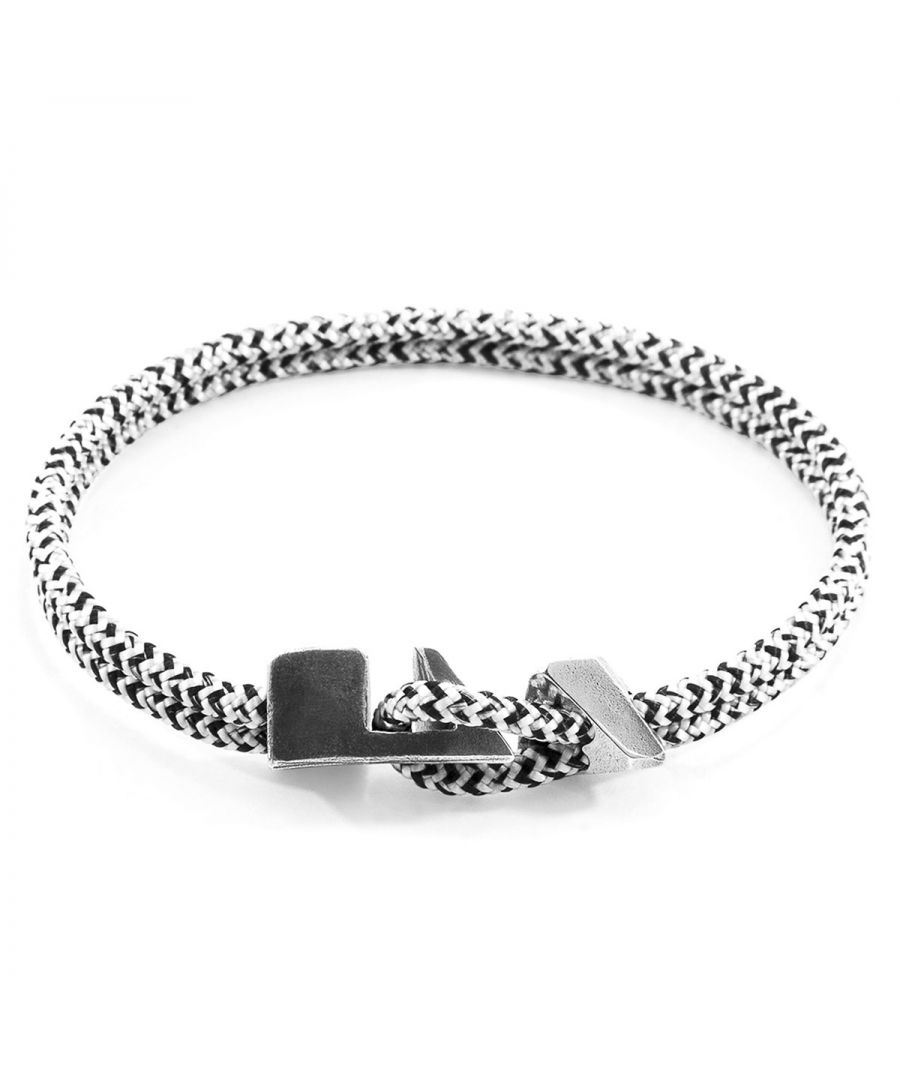 Image for ANCHOR & CREW White Noir Brixham Silver and Rope Bracelet