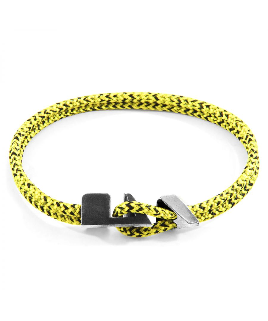 Image for ANCHOR & CREW Yellow Noir Brixham Silver and Rope Bracelet