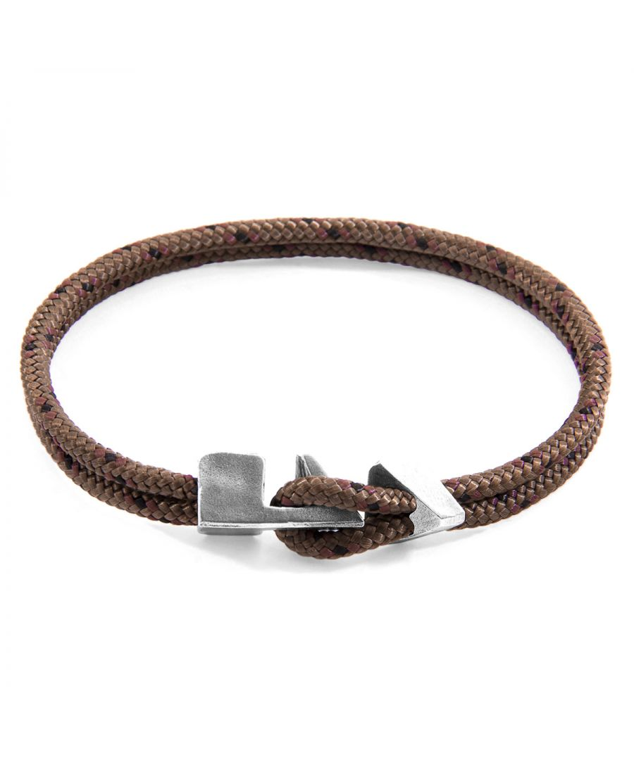 Image for ANCHOR & CREW Brown Brixham Silver and Rope Bracelet
